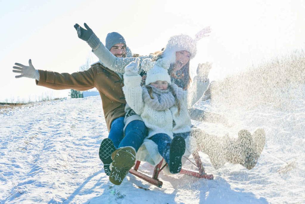 Schlitten fahren statt Schnee schippen